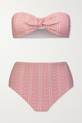 Lemlem Lola Stretch-jacquard Bandeau Bikini - Blush