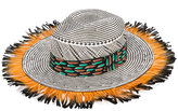 Etro fringed woven hat - women - Silk/Feather/Paper - 58