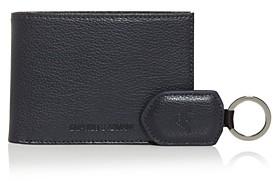 Giorgio Armani Leather Bi-Fold Wallet & Keychain Set