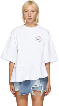 Sjyp White Asymmetric Ruffle T-Shirt