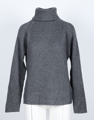 NOW Anthracite Cashmere and Wool Women's Turtleneck Sweater