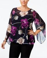Alfani Plus Size Chiffon Angel-Sleeve Blouse, Only at Macy's