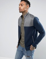 Asos Jersey Muscle Fit Track Jacket With Cut & Sew