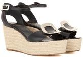 Roger Vivier Corda Chips Leather Espadrille Wedge Sandals