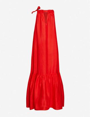 ASCENO The Ibiza frilly-hem linen midi dress