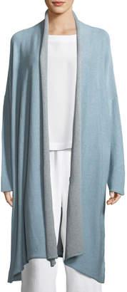 eskandar Two-Tone Lightweight Cotton Scrunched Long Shawl Cardigan