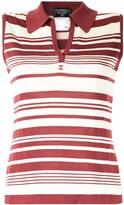 CC logo striped sleeveless top