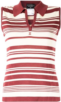 Chanel Pre Owned CC logo striped sleeveless top