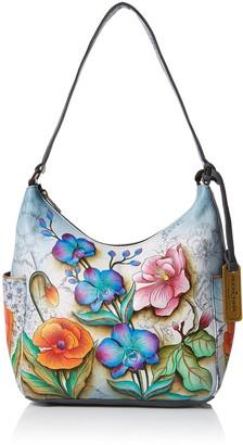 Anuschka Women's Genuine Leather Handbag - Classic Hobo With Side Pocket - Floral Fantasy