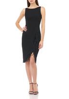Carmen Marc Valvo Sleeveless Crepe Sheath Dress with Feather Details