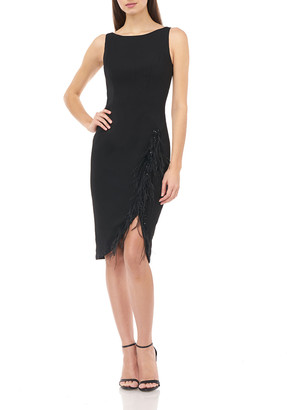 Carmen Marc Valvo Sleeveless Crepe Sheath Dress with Feather Details