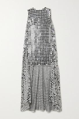 Ashish Cape-effect Embellished Georgette Mini Dress - Silver