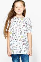 Boohoo Girls All Over Print Unicorn Tee