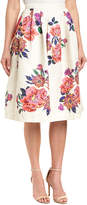Champagne & Strawberry Floral A-Line Skirt