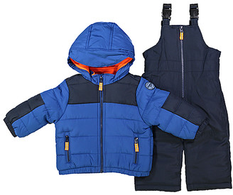 Osh Kosh Boys' Puffer Coats BLUE - Blue Puffer Coat & Navy Snow Bib Set - Infant & Toddler