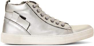 Naturino Toddler/Kids Girls) Silver Metallic Leather High-Top Sneakers