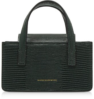 Marge Sherwood Lizard Embossed Leather Square Mini Tote