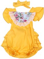 Baby Girl Floral Ruffle Clothes Sunsuit Romper Tutu Bow Backless dress -Ma&Baby (12-18 Months, )