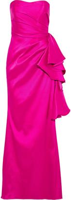 Badgley Mischka Strapless Ruffled Mikado Gown