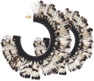 Mignonne Gavigan Fiona Feather Hoop Earrings, Black/White