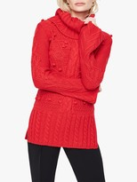 Damsel in a Dress Carley Chunky Cable Knit Jumper, Red