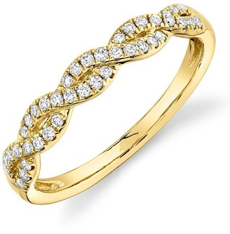 Ron Hami 14K Yellow Gold Pave Diamond Intertwined Ring - 0.22 ctw - Size 7