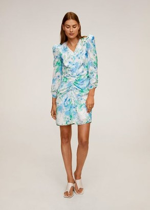 MANGO Ruched detail flower dress