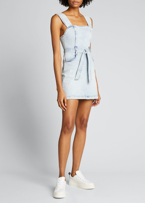 Alice + Olivia Jeans Gorgeous Pleated-Strap Mini Denim Dress