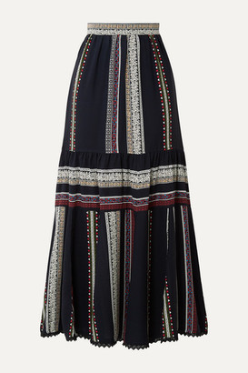 Derek Lam Lace-trimmed Tiered Printed Silk Midi Skirt - Navy
