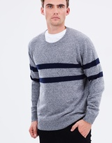 Twin Placement Stripe Crew Jumper