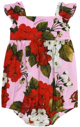 Dolce & Gabbana Baby floral cotton playsuit