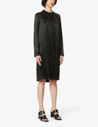 Ann Demeulemeester Cowl-neck satin-crepe midi dress