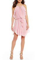 Laundry by Shelli Segal Draped Ruffle-Front Crepe Dress