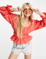 Thumbnail for your product : New Look textured waist detail blouse in light coral
