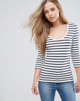 Only Live Love Stripe Scoop Neck 3/4 Sleeve T-Shirt