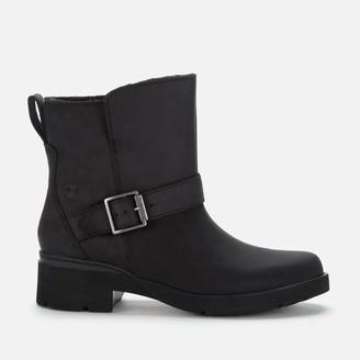 Timberland Women's Graceyn Waterproof Leather Biker Boots - Black