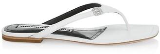 Alexander Wang Ivy Rhinestone Logo Leather Thong Sandals