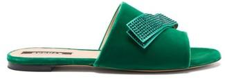Rochas Stud-applique Velvet Slides - Green