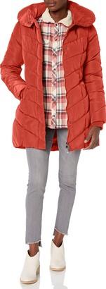 Steve Madden Women's Long Chevron Quilted Outerwear Jacket