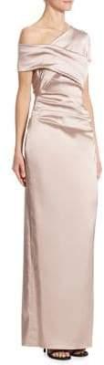 Talbot Runhof Ruched Satin One-Shoulder Gown