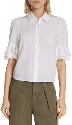 Frame Ruffle Sleeve Silk Top