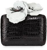 Nancy Gonzalez Poppy-Topped Crocodile Box Clutch Bag, Black/White