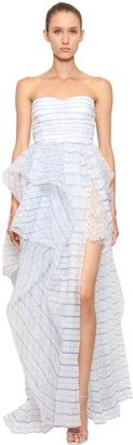 Ermanno Scervino Striped Strapless Tulle Dress