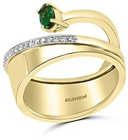 Bloomingdale's Emerald & Diamond Bypass Ring in 14K Yellow & White Gold - 100% Exclusive