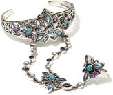 """Nicky Butler 10.15ctw Aqua Quartz and Multigemstone Sterling Silver """"Butterfly"""" Ring-Bracelet Hand Chain"""