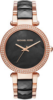 Michael Kors Women's Parker Rose Gold-Tone Stainless Steel and Black Acetate Bracelet Watch 39mm MK6414