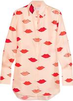 Victoria, Victoria Beckham - Appliquéd Printed Silk-twill Shirt - Cream