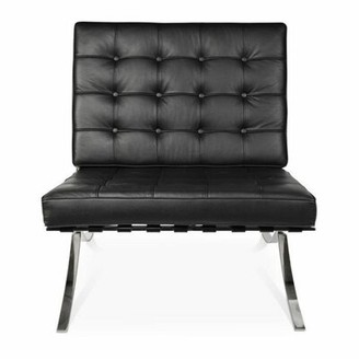 Orren Ellis Dingess Louge Chair Genuine Leather In Black With Metal Chrome Legs In Shinny Finish Orren Ellis Upholstery Color: Black
