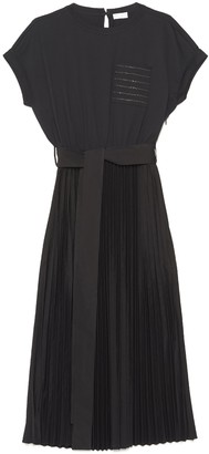 Brunello Cucinelli Pleated Belted Dress