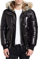 Mackage Leather Down Bomber Jacket w/Coyote & Rabbit Fur Trim, Black